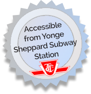 Accessible from Yonge Sheppard Subway Station